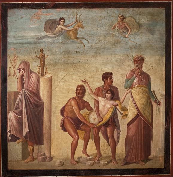 Affresco raffigurante il Sacrificio di Ifigenia Casa del Poeta Tragico, Pompei