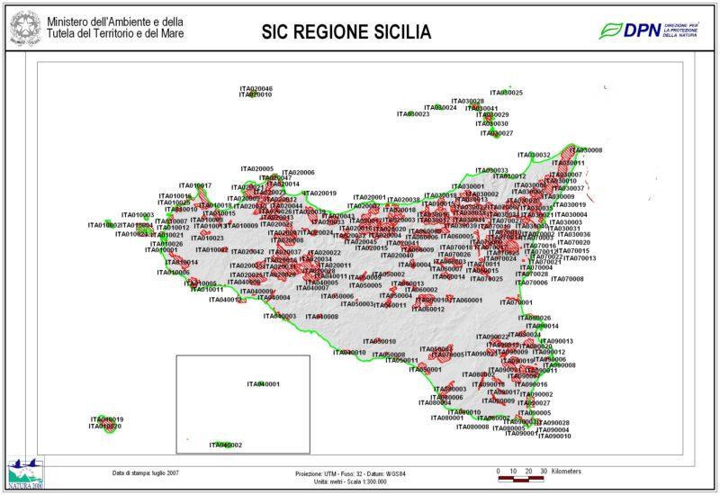 Elenco SIC ZSC Regione Sicilia