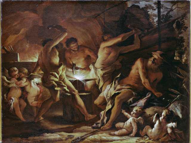 Alessandro Gherardini: Vulcano e i Ciclopi nella fucina – Pittura del XVIII sec