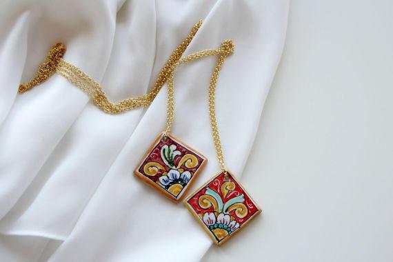 Ciondoli Di Ceramica.Collana Con Ceramica Di Caltagirone